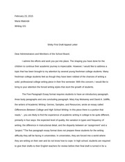 Shitty First Draft Appeal Letter