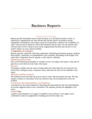 Word Bootcamp Homework business reports