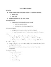 American Puritanism Notes