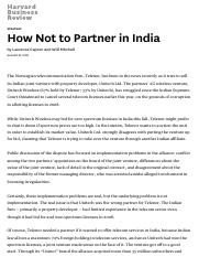 Telenor - How Not to Partner in India - HBR
