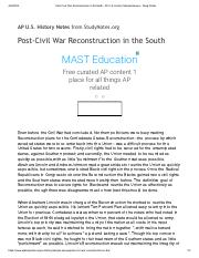 Post-Civil War Reconstruction in the South - AP U.S. History Sample Essays - Study Notes.pdf