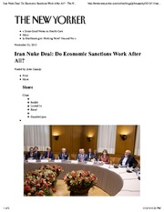 Iran Nuke Deal Do Economic Sanctions Work After All?  The New Yorker