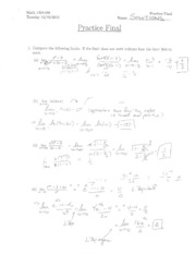MATH 1310 - Practice Final with Solutions