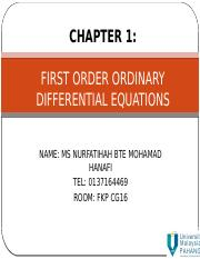 CHAPTER 1 FIRST ORDER ORDINARY DIFFERENTIAL EQUATIONS