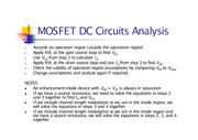 MOSFET DC Analysis