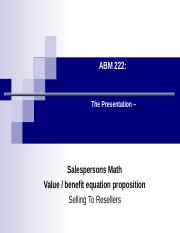 Lecture 14 Sales persons Math and Value.ppt