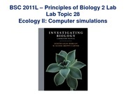 Lab 28 on Ecology