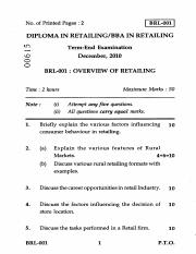 (www.entrance-exam.net)-IGNOU Diploma in Retailing-Overview of Retailing Sample Paper 1
