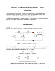 Mesh and Node Equations Simple Resistive Circuits