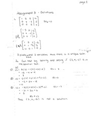 Assignment solutions on Linear System of Equations
