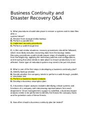 Business Continuity and Disaster Recovery Q_A.docx