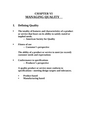 Chapter VI Managing quality