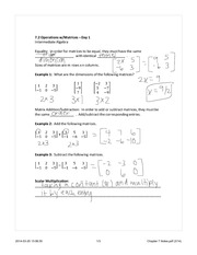 Operations with Matrices in Business notes