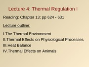 Lec4- Thermal Regulation I