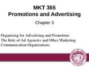 Chapter 3: Organizing for Advertising and Promotion