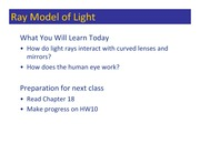 Class 133 - Ray Model of Light