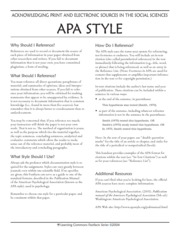 Fast Facts APA Referencing