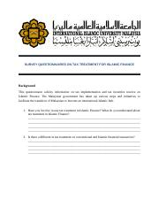 Questionnaires on tax treatment for islamic finance