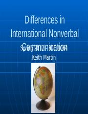 Differences in International Nonverbal Communication