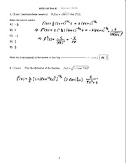 MTH140 – W2008 Midterm 2 (Solution)