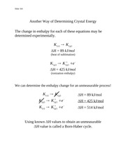 Determining Crystal Energy - Notes