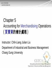 Ch5_Accounting for merchandising operations