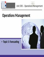 topic 5 - Forecasting