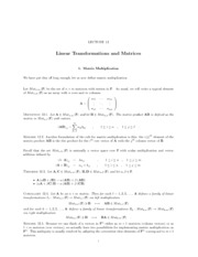 Lecture 12 Linear Transformations and Matrices
