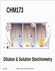 Lecture  Topic #15  - Dilution & Solution Stoichiometry.pptx