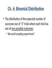 Chapter 6 - Binomial Probability Distribution Fall16