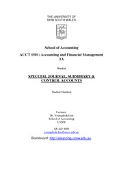Week 6 Lecture Notes - Special Journal, Subsidiary & Control Accouts
