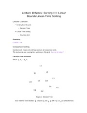 Lecture 10 Notes Sorting III Linear Bounds Linear-Time Sorting