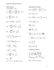 EQUATIONS POLYMER PHYSICS