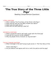 the true story of the three little pigs.docx
