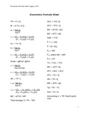 Currrent Economics Formula sheet August 2015