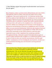 Rear Window Notes  Julianna Ritter Film Midterm Study Guide Rear   Pages Rear Window Essaydocx