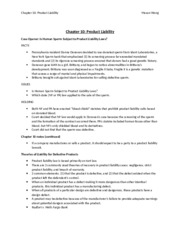 Chapter 10 - Product Liability