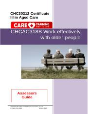 CHCAC318B Work effectively with older people AG