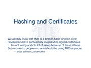 Hashing and Certificates
