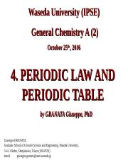 4 - Periodic Law and Periodic Table