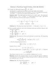 Sample Final Exam 1 Solution on Ordinary Differential Equations
