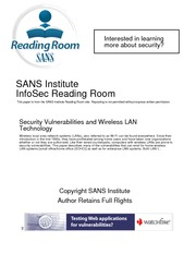IS3120 LAB #5 SANS Security Vulnerabilities & Wireless LAN Technology