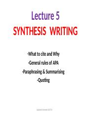 Lecture5_Synthesis Writing