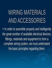 1 WIRING MATERIALS AND ACCESSORIES ppt - WIRING MATERIALS AND
