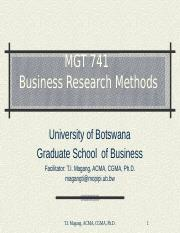 MGT 741 Week 4 Research Methods & Research Philosophy