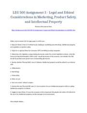 LEG 500 Week 10 Assignment 3 - Legal and Ethical Considerations in Marketing, Product Safety, and In