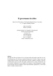 E-governance in cities