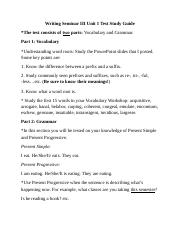 Writing Seminar III Unit 1 Test Study Guide.docx