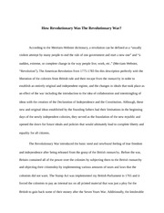 How revolutionary was the revolutionary war essay