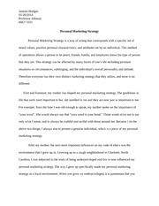 Personal Marketing Strategy Example Essay